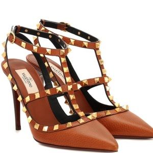 Valentino Rockstud leather ankle strap pump.